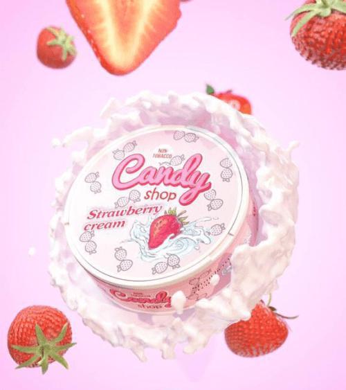 candy shop strawberry cream nicotine pouches snus nicopods the pod block